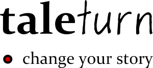 taleturn logo with subhead